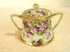 sugar bowl with violets