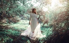 Image result for girl in white dress in forest