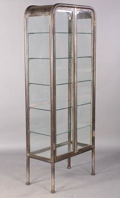 102: VINTAGE METAL GLASS VITRINE C.1920 : Lot 102 - Such an awesome piece!
