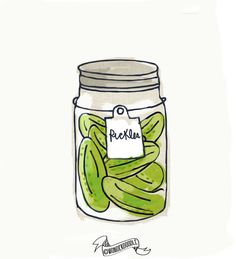 Mason Jar Print Pickles Hand drawn Illustration by wonderdoodle, $15.00