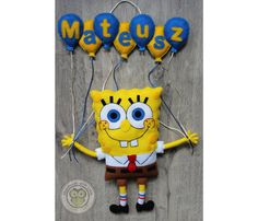 SpongeBob Felt Name Banner Wall by HappyTreeDecorations on Etsy Felt Name Banner, Name Banners, One Balloon, Balloons, Felt Crafts, Diy And Crafts, Biscuit, Handmade Wall Hanging, Molde