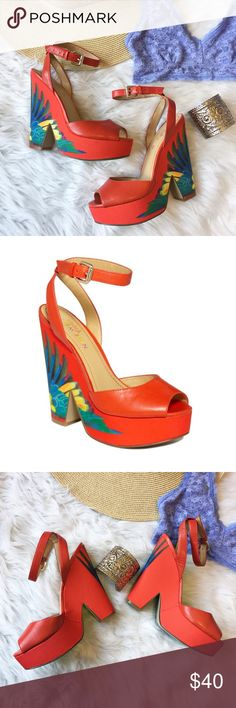 Nine West • Trois Chic Platform Sandals A seriously GORGEOUS shoe by Nine West. Brasil line with red orange all over color with a pretty bird feather design on outer and back. New without box (but will be shipped with the most care)  and never worn! No flaws! Size 6 and fits true to size. Nine West Shoes Sandals