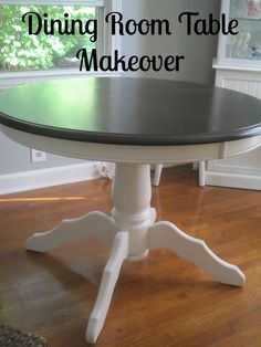 Beautiful Tone on tone round dining table.  I would love one like this for our kitchen! Decorated Chaos: Dining Room Table Reveal