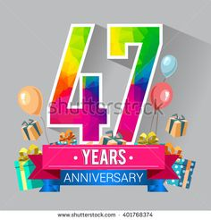 47 Years Anniversary celebration logo, 47th Anniversary celebration, with gift box and balloons, colorful polygonal design. - stock vector