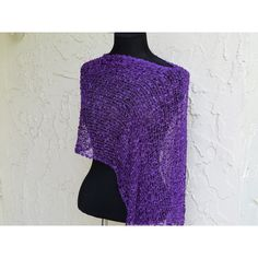 Poncho Scarf Purple Shawl Beach Coverup Poncho Womens Knit Poncho... ($22) ❤ liked on Polyvore featuring outerwear, purple, women's clothing, knit shawl, knit poncho, crochet shawl, poncho shawl and long shawl