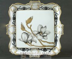 SOONOK 포슬린 아트 아카데미 China Painting, Magnolias, Pictures To Paint, Dinnerware, Stained Glass, Decoupage, Diy And Crafts, Pottery, Hand Painted