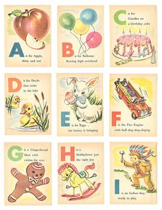 Baby's First ABC - Vintage Illustrated Childrens Alphabet Cards - Nursery - Clip Art - Digital Collage Sheet - Printable Alphabet Flash Cards Printable, Alphabet Cards, Printable Cards, Printables, Printable Vintage, Abc Cards, Free Printable, Childrens Alphabet, Alphabet Images
