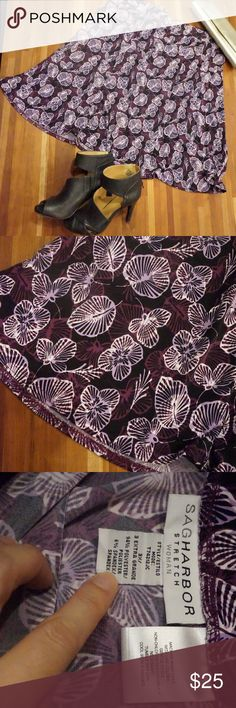 "Sag Harbor purple floral skirt LIKE NEW  Great skirt with black back ground with light and dark purple flowers.    26"" length  P001 Sag Harbor Skirts A-Line or Full"