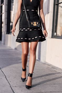 VivaLuxury - Fashion Blog by Annabelle Fleur: HERVÉ LÉGER :: LITTLE BLACK DRESS - HERVE LEGER dress | OLGANA PARIS pumps | LOUIS VUITTON Petite Malle bag October 14, 2016