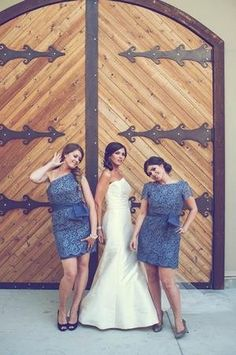 #blue #lace #bridesmaid dress by Noir by Lazaro (Photo by Weston Neuschafer Photography)