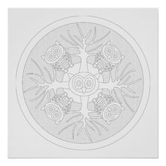 Make it Your Art - Detailed ready to color art print of Owls and Tree Coloring Mandala Poster Order on fine art media, poster stock, canvas ...