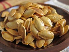 """Toasted """"kettle corn"""" pumpkin seeds. Two favorite fall treats combine to create one irresistibly sweet and salty snack."""