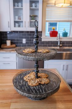 A multi-level platter with fresh cookies sits atop the new island.
