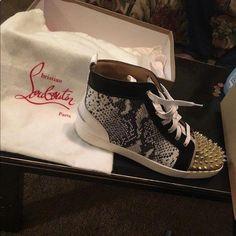 30d4f826e4 Mens Christian Louboutin Sneakers Snake skinned black and white  sneaker..Slighty worn absolutely no