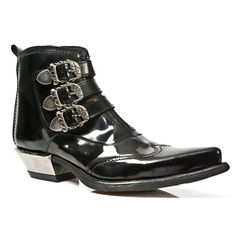 M.7971-S1 Black Patent Leather Short Ankle New Rock Cowboy Boots - Cowboy Boots - Mens - Footwear