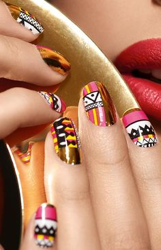 Tribal nails how-to.  #DIY