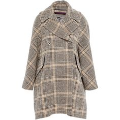 Martin Grant Swing Coat ($2,795) ❤ liked on Polyvore featuring outerwear, coats, double breasted woolen coat, double-breasted wool coat, double breasted coat, tartan coat et oversized coat