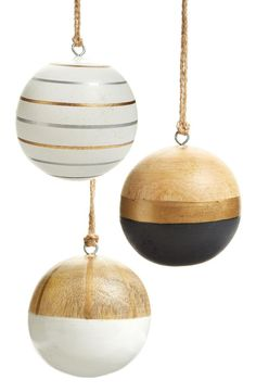 Nordstrom at Home Set of 3 Wooden Ball Ornaments Bohemian Christmas, Noel Christmas, Merry Little Christmas, Modern Christmas, Christmas Balls, Rustic Christmas, Christmas Crafts, Christmas Ornaments, Minimalist Christmas