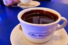 Cioccolata Calda (Italian hot chocolate) in a little bar in Ragusa.  This rich, thick winter melting drink is beyond compare with hot chocolates from other countries!!