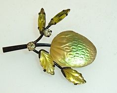Vintage Austria Fruit Pin Golden Pale Green Molded Glass