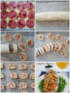 Szybkie ślimaki z ciasta francuskiego z salami, żółtym serem i odrobiną suszonych pomidorów.