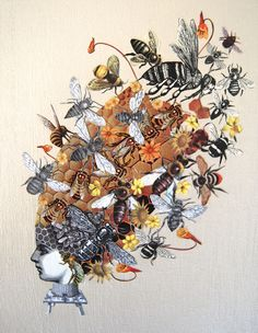 Her Bee Hive collage on canvas, 2015