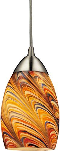 $121:Elk 10089/1RV Mini Vortex 1-Light Pendant with Rainbow Glass Shade, 4 by 7-Inch, Satin Nickel Finish Elk http://www.amazon.com/dp/B00BF2WWXU/ref=cm_sw_r_pi_dp_QxFJvb0H82KR6