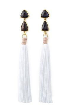 Lizzie Fortunato White Surf Tassel Earrings
