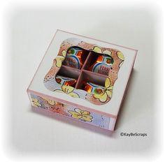 Für meine Schulungs-Kollegen habe ich eine kleine Box gebastelt mit 4 Küsschen.. Die Box ist ähnlich der 4er-Schoki-Box im Workshop Bereich....