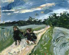 Chaim Soutine Return from School After the Storm, ca. oil on canvas, 18 x 19 ¾ inches Painting Wallpaper, Painting & Drawing, Chaim Soutine, Modigliani, Classic Paintings, Jewish Art, Oeuvre D'art, Online Art, Les Oeuvres