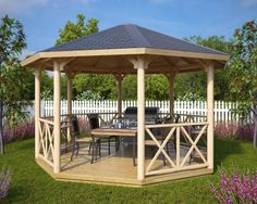 pergola plans Large Wooden Gazebo Lotte XL / x m Big Octagonal Canopy Lotte Screened Gazebo, Garage Pergola, Gazebo Canopy, Backyard Gazebo, Covered Pergola, Pergola Patio, Pergola Kits, Gazebo Ideas, Pergola Cover