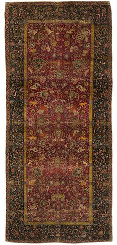 The Emperors Carpet  Object Name:     Carpet Date:     second half 16th century Geography:     Iran Medium:     Silk (warp and weft), wool (pile); asymmetrically knotted pile Dimensions:     Rug: L. 299 in. (759.5 cm) W. 133 1/2 in. (339.1 cm) Classification:     Textiles-Rugs