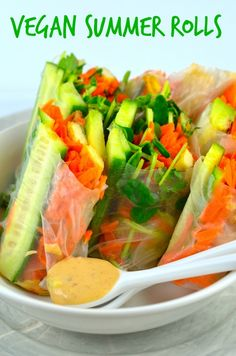 May I Have That Recipe | Vegan Summer Rolls With Peanut Coconut Dipping Sauce