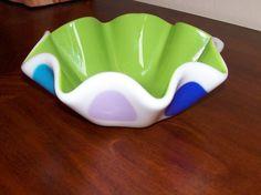 Fused Glass Ruffled Bowl