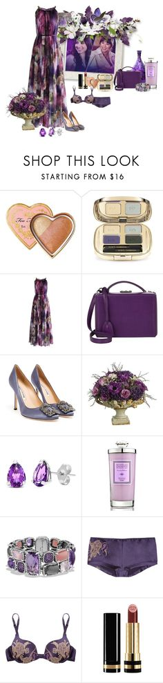 """Purple Love"" by swervin35 ❤ liked on Polyvore featuring Too Faced Cosmetics, Dolce&Gabbana, Chicwish, Mark Cross, Manolo Blahnik, Allstate Floral, Kabella Jewelry, Archipelago, David Yurman and Carine Gilson"