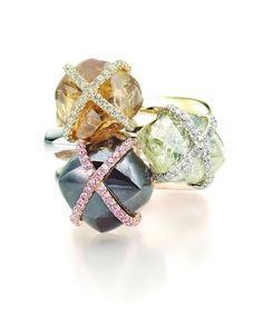 """Stack of Diamond in the Rough rings from the """"Orielle"""" Collection"""