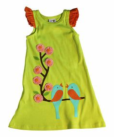 Look what I found on #zulily! Green Love Bird Tank Dress - Girls #zulilyfinds