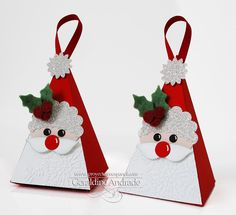 Hang to decorate plain twigs in a vase. Christmas Paper Crafts, Christmas Gift Box, Stampin Up Christmas, Christmas Projects, All Things Christmas, Christmas Holidays, Christmas Ornaments, Santa Decorations, Craft Show Ideas