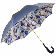Blue Floral Double Canopy Luxury Umbrella by Pasotti - Brolliesgalore