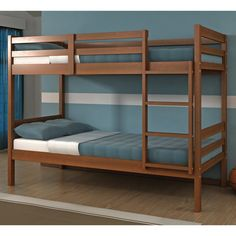 These modern solid wood bunk beds will help you make the most of out limited space in your child's room. Easy to assemble and install, these mattress ready bunks are solid and sturdy. One twin bunk bed.