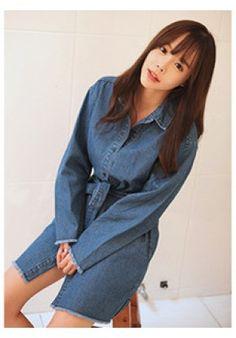 Raw Edge Trim Shirt Dress - Dresses - Clothing - Genuine Korean style fashion from Korea