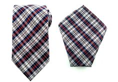 Mens Necktie Maroon Blue White Checks 8.5 CM Necktie with Pocket Square.
