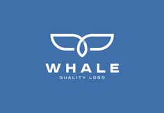 Whale Line Art Logo Template