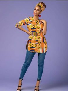 This is simple Ankara Kente Top.This is made to order.Please,send me your detailed measurements,if you have after payment.You wash Ankara with Hand wash and non- bleaching detergent. Best African Dresses, Latest African Fashion Dresses, African Men Fashion, African Print Dresses, African Attire, African Style Clothing, Ankara Fashion, Africa Fashion, African Print Top