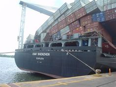 """The container ship """"csav shenzhen"""" vessel was hit by bad weather in the Pacific Ocean"""
