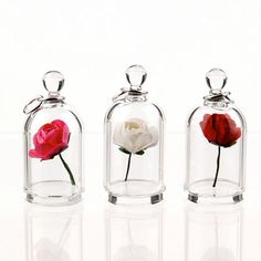 Bright Pink Rose in a Bell Jar Terrarium Necklace / door kivaford, $80.00