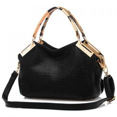 33.82$  Buy now - http://dizzl.justgood.pw/go.php?t=YG0577901 - Trendy Metal and Crocodile Print Design Tote Bag For Women