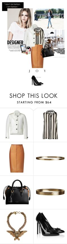 """""""Burberry rock my world!"""" by rudzia95 ❤ liked on Polyvore featuring Burberry, Chanel, Lanvin, Yves Saint Laurent, bib necklaces, leather biker jackets, stripes, high-waisted skirts, top handle bags and skinny belts"""