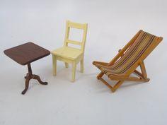 Antique Dollhouse Furniture & Bathroom Set