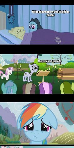 I just realized that there is a casket next to the old man! OMG! Death in MLP!